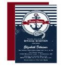 Navy Red Rustic Nautical Bridal Shower Invitations