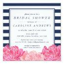 Navy Stripe & Pink Peony Bridal Shower Invitation