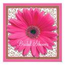 Pink Brown Gerbera Daisy Bridal Shower Invitations