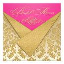 Pink, Gold Damask, Scroll Bridal Shower Invitations