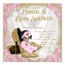 Pink Gold Glitter Shoe Pearl Bridal Baby Shower