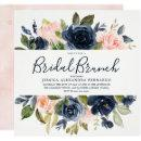 Pink & Navy Blue Watercolor Flowers Bridal Shower