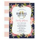 Pink Watercolor Flowers with Navy Bridal Brunch