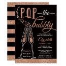 Pop The Bubbly Bridal Shower Invite, Faux Gold