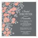 Pretty Flowers Modern Gray & Coral Bridal Shower