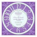 Purple Floral Around the Clock Shower Invite