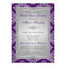Purple, Silver Glitter Damask  Invite
