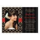 Red and Black Gold Moroccan Sweet Sixteen Photo Invitation