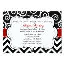 REd Black Chevron Bridal or Baby Shower Invite