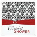 Red, White, and Black Damask Bridal Shower Invite