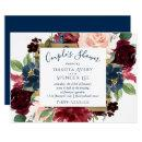 Rustic Floral | Navy Blue Red Pink Couple Shower