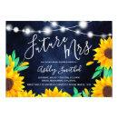 Rustic navy string lights sunflowers bridal shower
