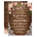 Rustic String Lights Lace Floral Couple's Shower Invitation