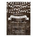 Rustic string lights wood wedding couples shower invitation
