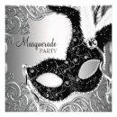 Silver Black Mask Masquerade Party Invites