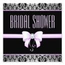 Silver Damask, Lilac Bow & Diamond Bridal Shower Invitations
