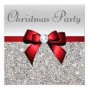 Silver Sequins Christmas Party Red Diamond Bow Invitation