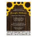 Sunflower Barn Wood Lace Bridal Shower Invitations