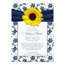 Sunflower Navy Damask Bridal Shower Invitations