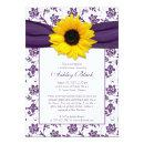 Sunflower Purple Damask Bridal Shower Invitations