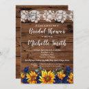Sunflower Rustic Lace Country Blue Bridal Shower