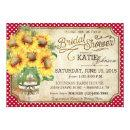 Sunflowers Gingham Country Picnic Bridal Shower Invitations
