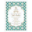 Teal and Gold Moroccan Baby Girl Baby Shower Invitation