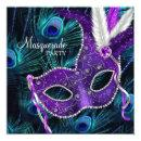 Teal Blue Purple Peacock Masquerade Party Custom Invitations