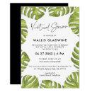 Tropical green palm leaves Virtual baby shower