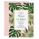 Tropical leaves pink wedding bridal shower