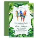 Tropical Parrots Birds & Leaves Party Invitatons