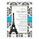 Turquoise Eiffel Tower Parisian Bridal Shower Invitations