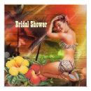 vintage Aloha Hula Girl hawaii beach bridal shower Invitations