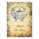 Vintage Teapot navy blue Rustic Bridal Tea Invites