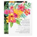 Watercolor Hibiscus Tropical Bridal Shower Invitation