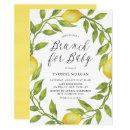 Watercolor Lemon Greenery Wreath Brunch for Baby Invitation