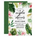 Watercolor Tropical Floral Frame Couples Shower