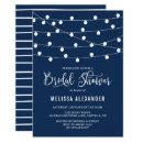 Whimsical String Lights Navy Blue Bridal Shower