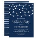 Whimsical String Lights Navy Blue Welcome Party