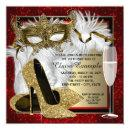 Womans Red and Gold Masquerade Party Invitation