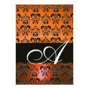 YELLOW ORANGE BLACK DAMASK MONOGRAM ,bright white Invitations