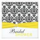 Yellow, White, Black Damask Bridal Shower Invite